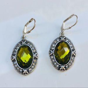Art Deco silver green crystal peridot earrings